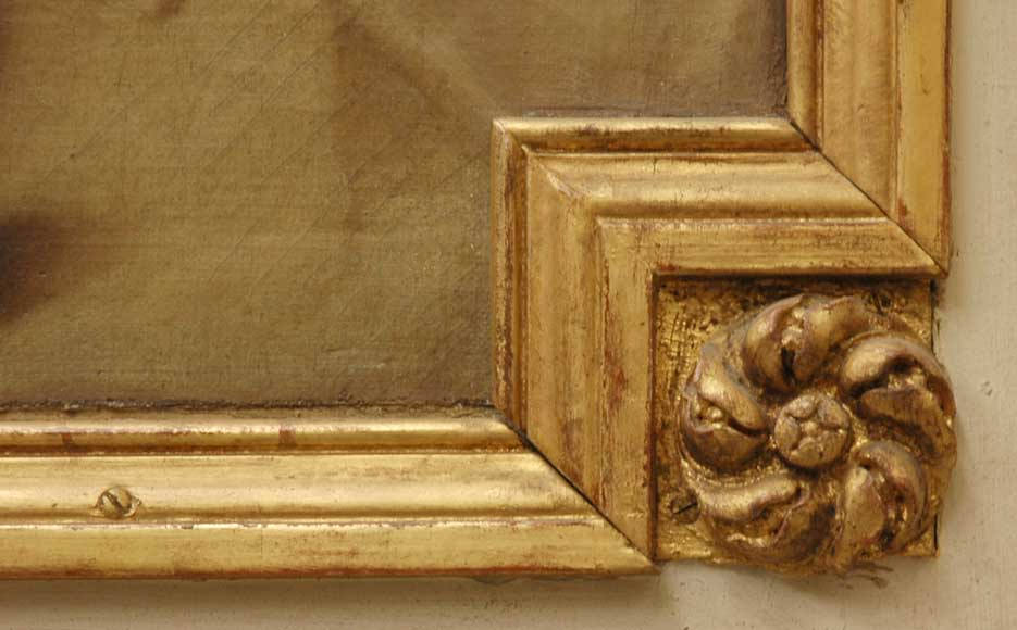 19th century trumeau mirror with 18th century putti painting-5