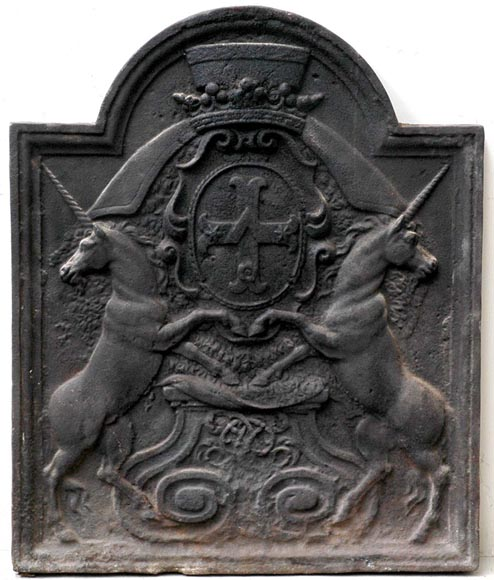 18th-century fireback with Louis-Michel Lepeletier de Saint-Fargeau coat of arms and unicorns-0
