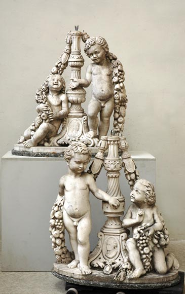 Pair of Marble Garden Statues with Putti - Reference 9619
