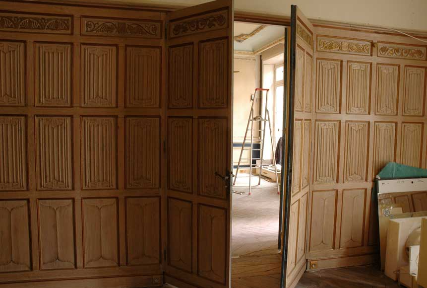 Oak Paneled Rooms : Oak paneled room decorated with linenfold and rinceau
