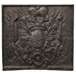 Cast iron fire back with Two Headed Eagle
