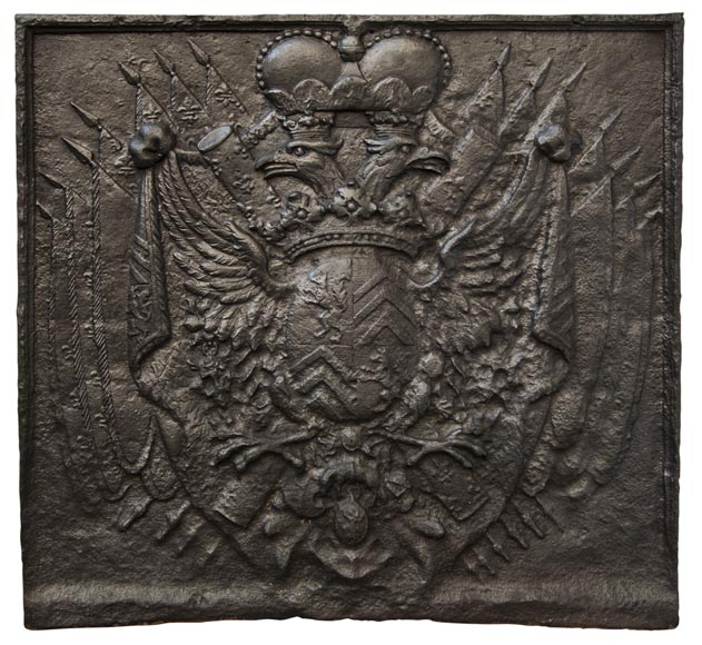Cast iron fire back with Two Headed Eagle-0