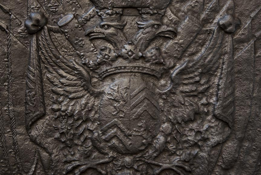 Cast iron fire back with Two Headed Eagle-1