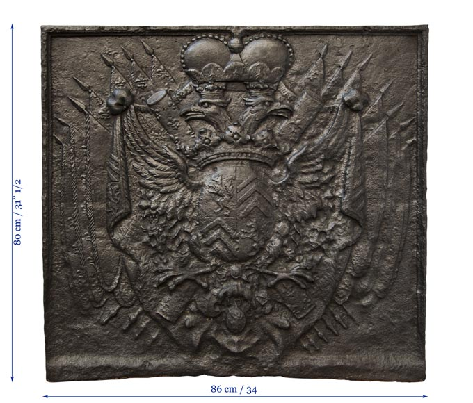 Cast iron fire back with Two Headed Eagle-8