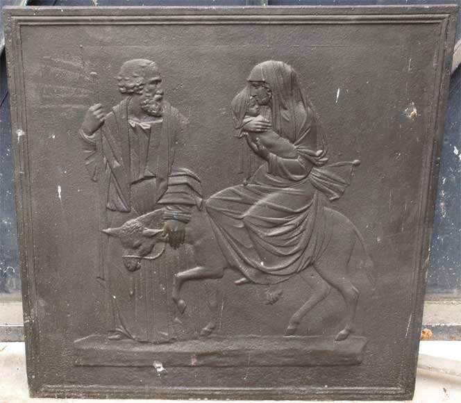 "Cast iron fireback ""The flight in Egypt"" - Reference 9692"