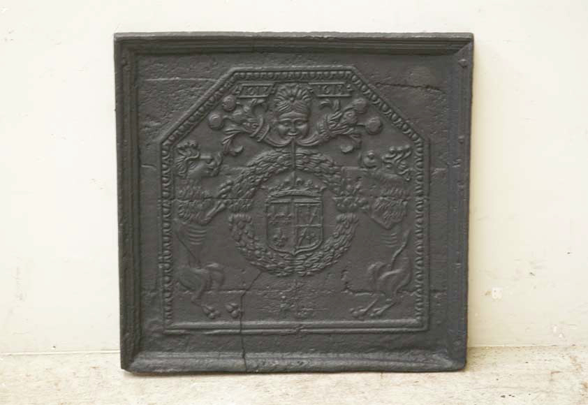 Antique cast iron fireback with France and Navarra coat of arms dated 1613-0