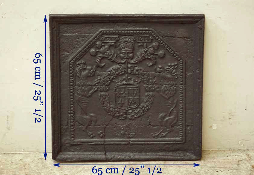 Antique cast iron fireback with France and Navarra coat of arms dated 1613-6