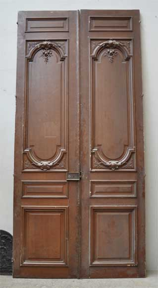 Pair of antique double wooden and stucco doors-0