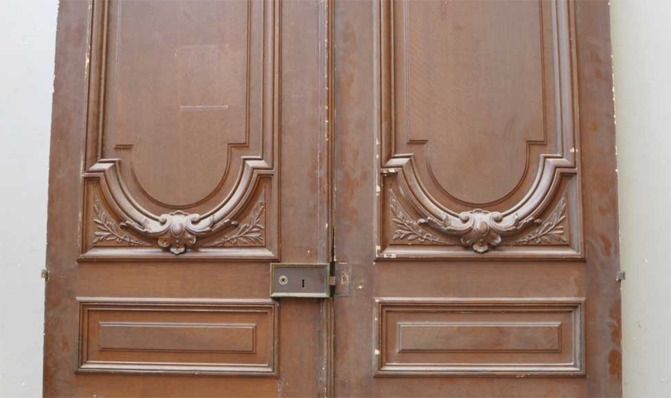 Pair of antique double wooden and stucco doors-1
