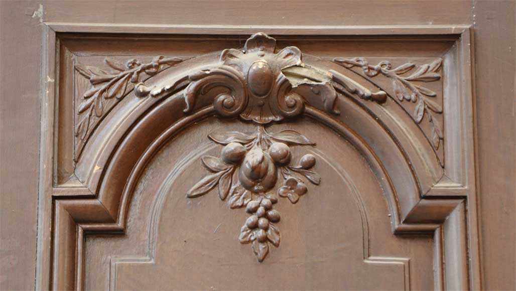 Pair of antique double wooden and stucco doors-2