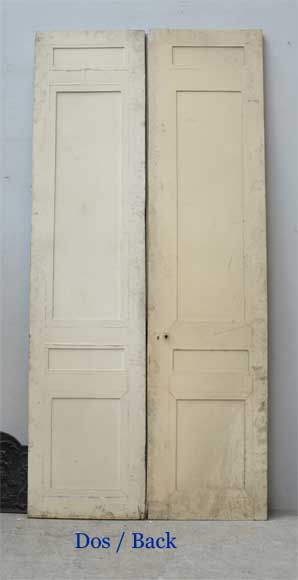 Pair of antique double wooden and stucco doors-5