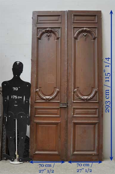 Pair of antique double wooden and stucco doors-6