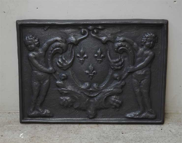 Antique cast iron fireback with French coat of arm - Reference 9768