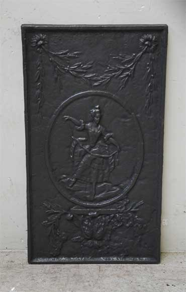 Antique cast iron fireback with a dancer-0