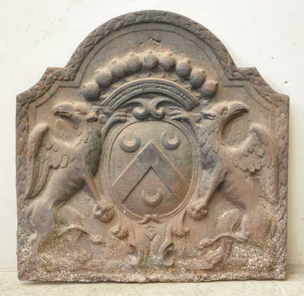 Antique cast iron fireback with griffons-0