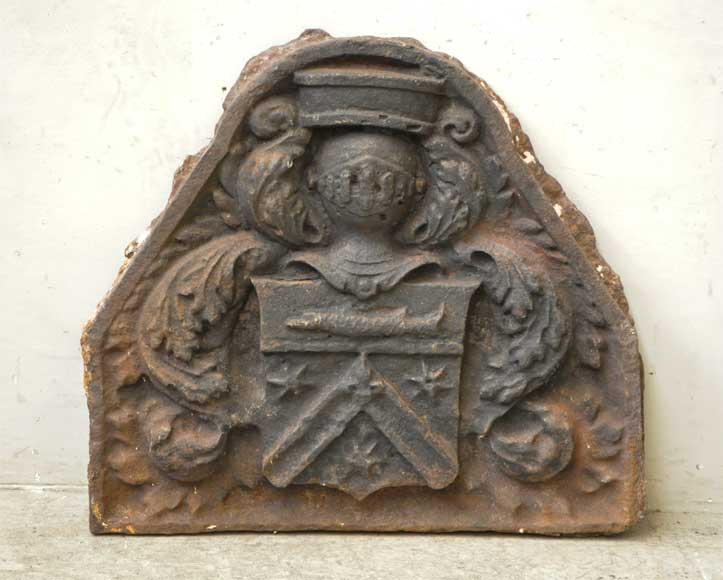 Antique fireback with Bretel de Gremonville coat of arms - Reference 9777