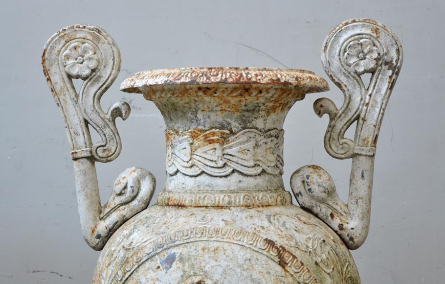 Antique pair of cast iron vases with putti-4