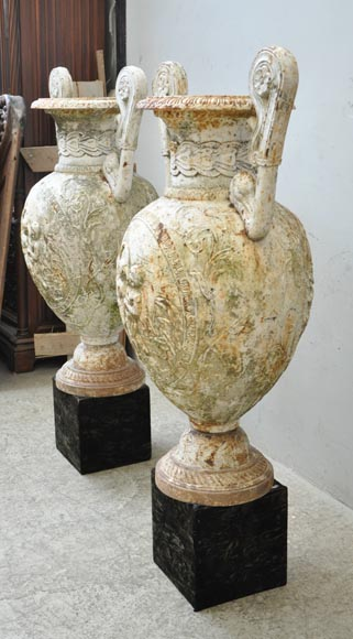 Antique pair of cast iron vases with putti-6