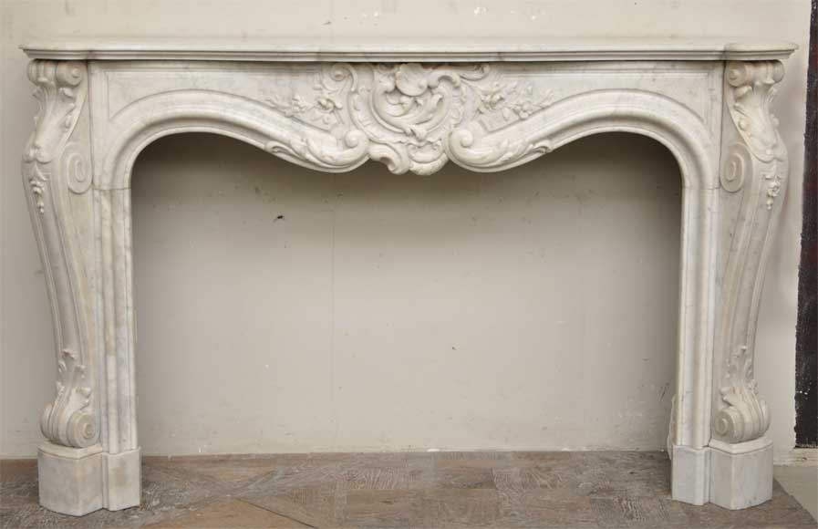 Exceptional antique Louis XV style fireplace in a white Carrara marble - Reference 9785