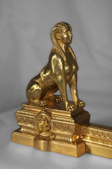 Antique firedog with sphinges decoration in golden bronze-2
