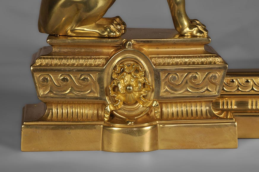 Antique firedog with sphinges decoration in golden bronze-3