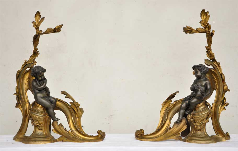 Antique firedogs with wine allegory - Reference 9798