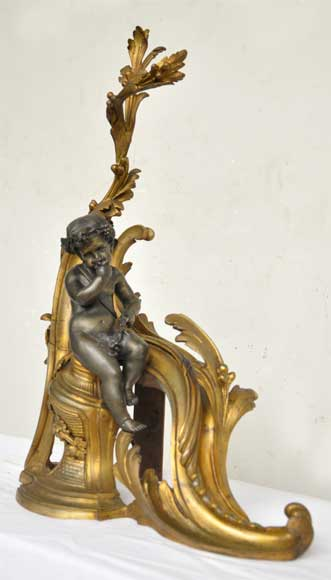 Antique firedogs with wine allegory-2