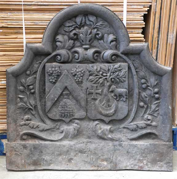 Antique cast iron fireback with two coat of arms-0