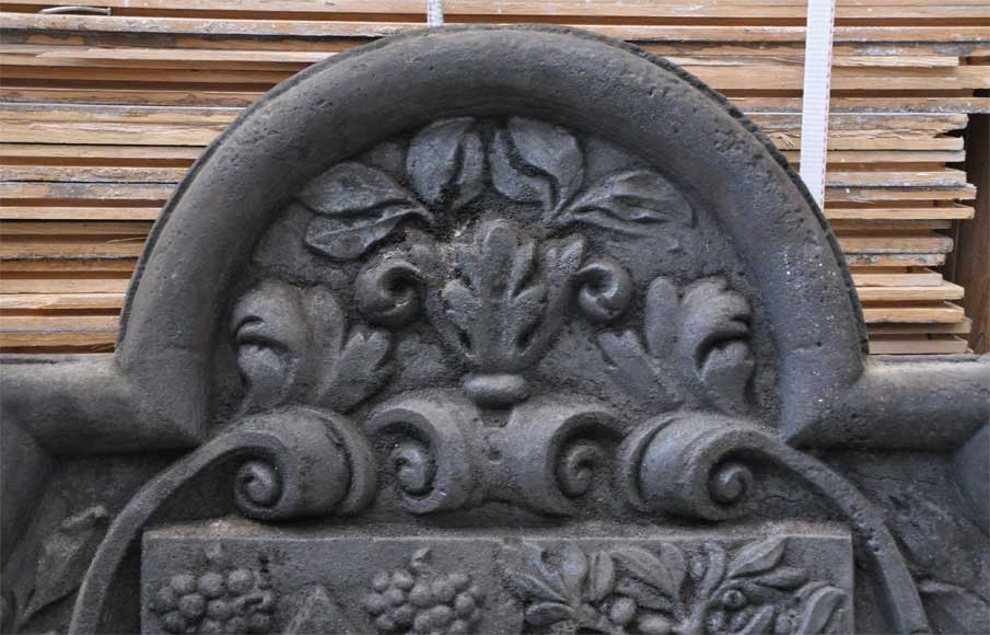 Antique cast iron fireback with two coat of arms-2
