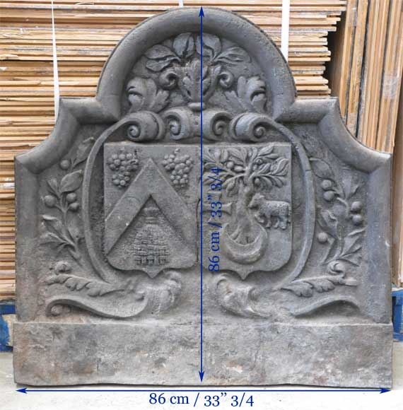 Antique cast iron fireback with two coat of arms-7