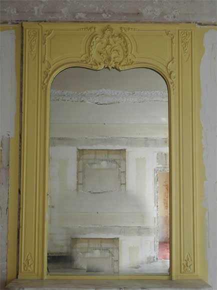 Antique Louis XV style mirror painted in yellow-0