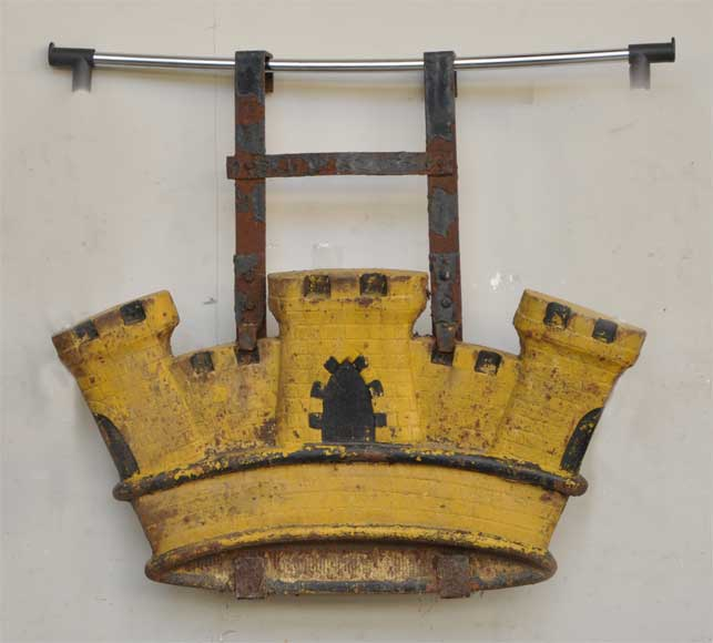 Antique cast iron sign in shape of a castle  from the 19th century-0
