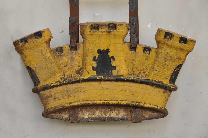 Antique cast iron sign in shape of a castle  from the 19th century-1
