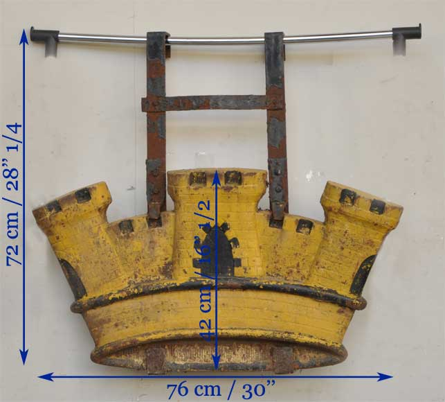Antique cast iron sign in shape of a castle  from the 19th century-6