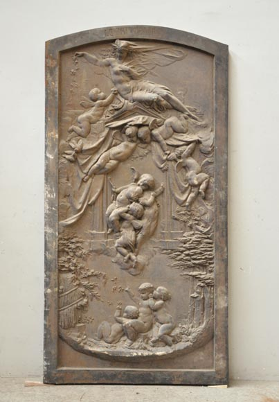 Antique cast iron bas-relief called