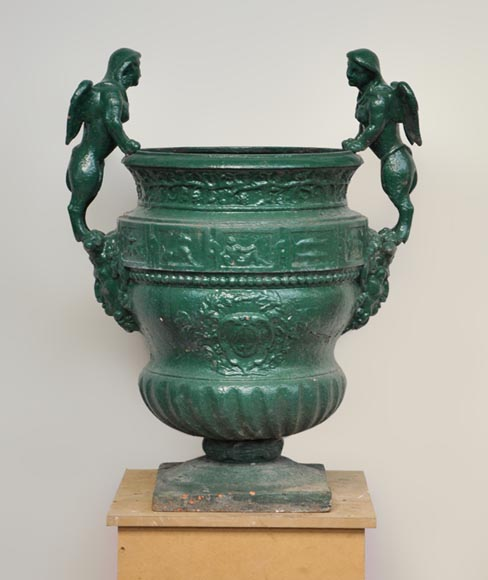 Antique cast iron planter with sphinges after the bronze model by Claude Ballin for Versailles Palace - Reference 9859
