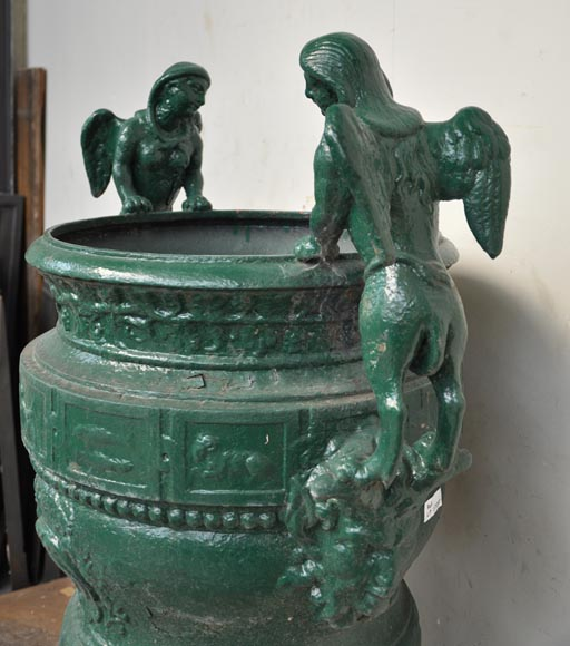 Antique cast iron planter with sphinges after the bronze model by Claude Ballin for Versailles Palace