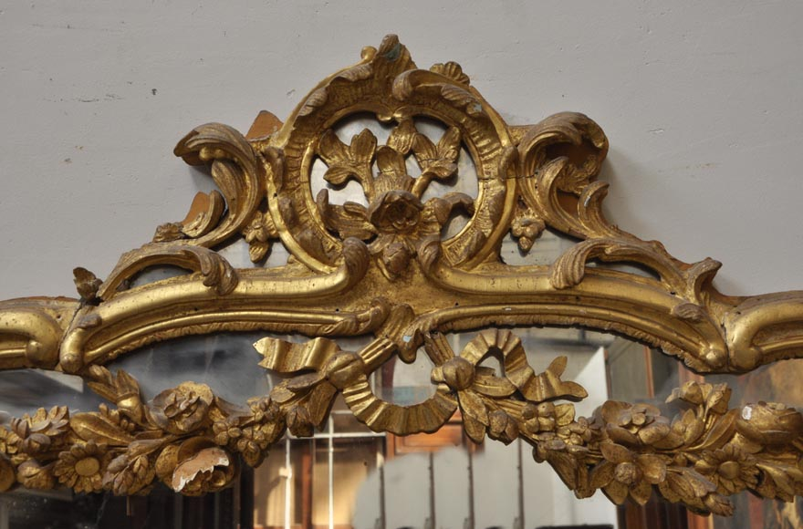 Antique Louis XV style trumeau mirror with floral decoration-1