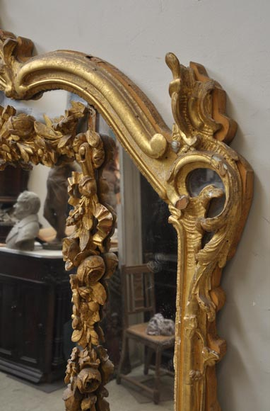 Antique Louis XV style trumeau mirror with floral decoration-2