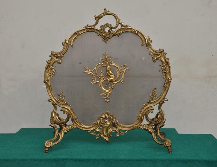 Antique bronze fire screen with winter allegory-0