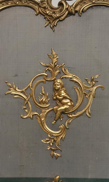 Antique bronze fire screen with winter allegory-1