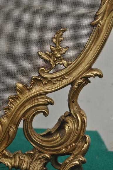 Antique bronze fire screen with winter allegory-6