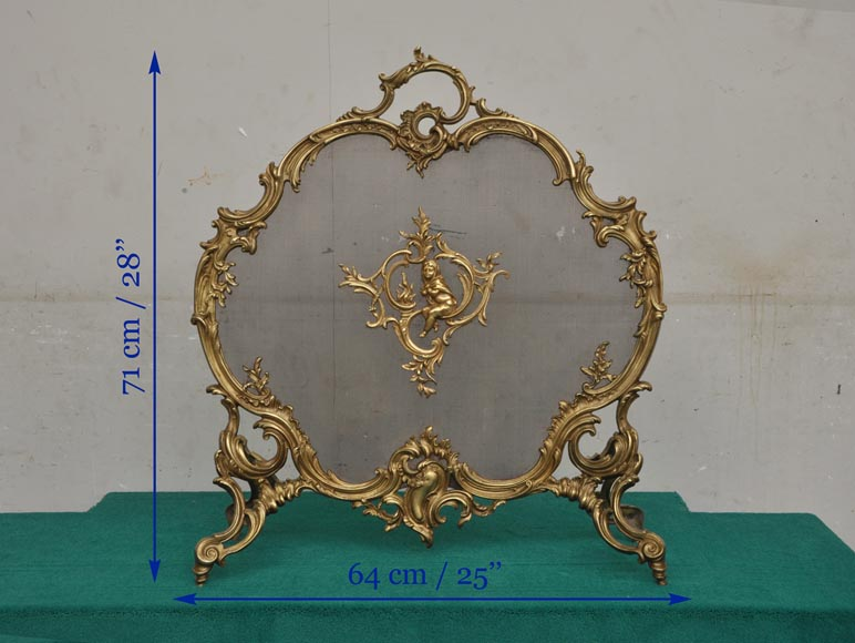 Antique bronze fire screen with winter allegory-7