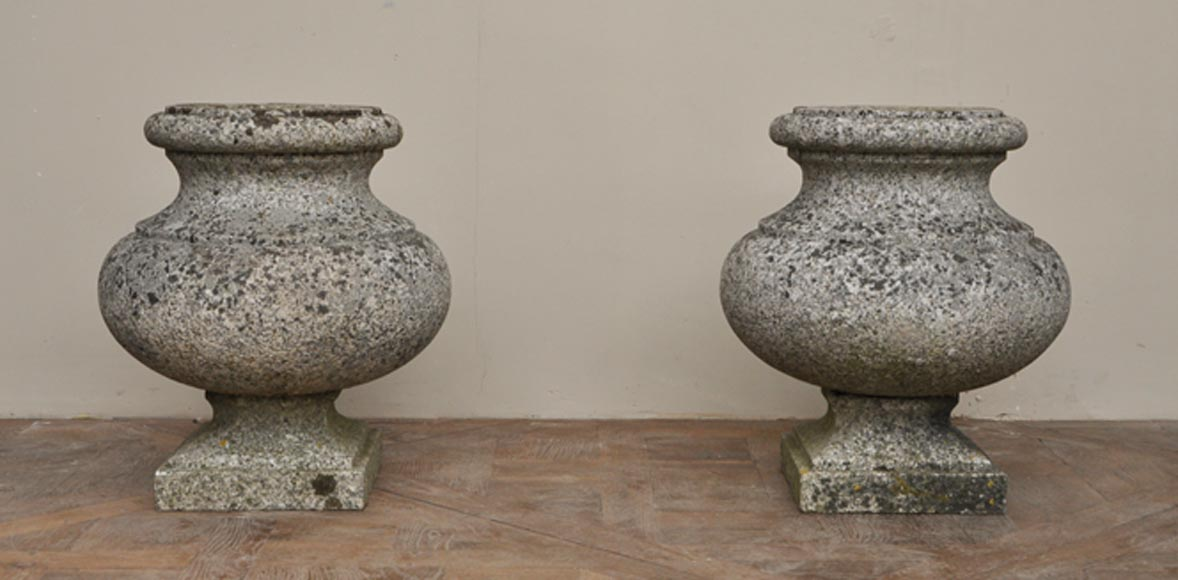Antique pair of garden vases in granite-0