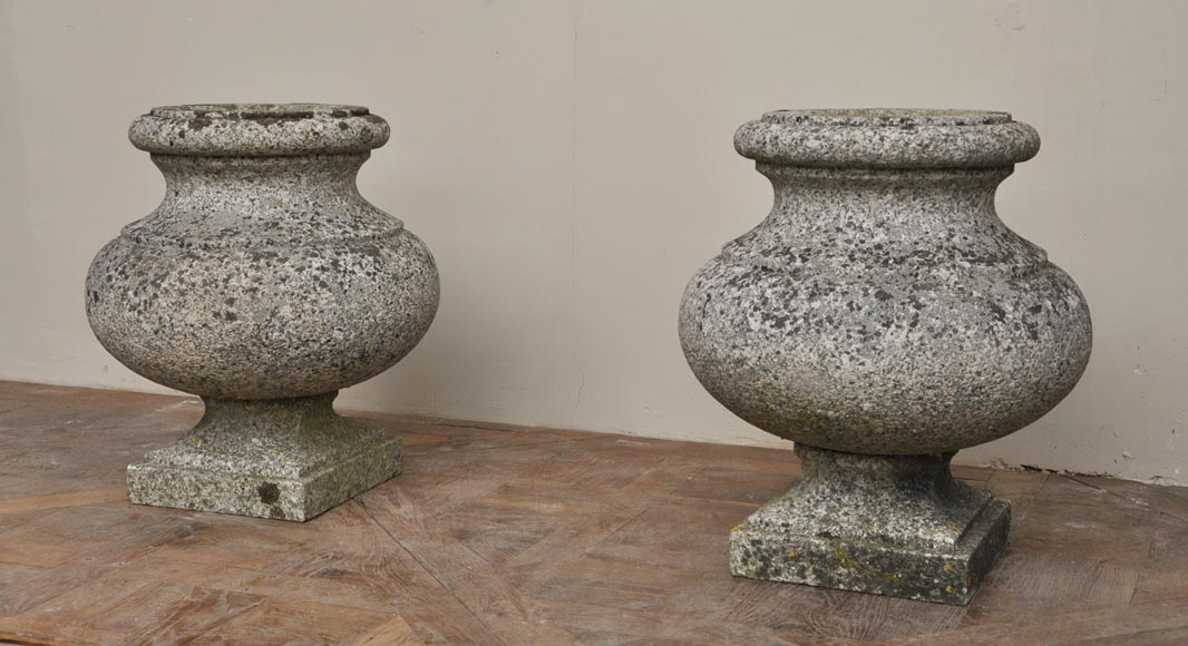 Antique pair of garden vases in granite-1