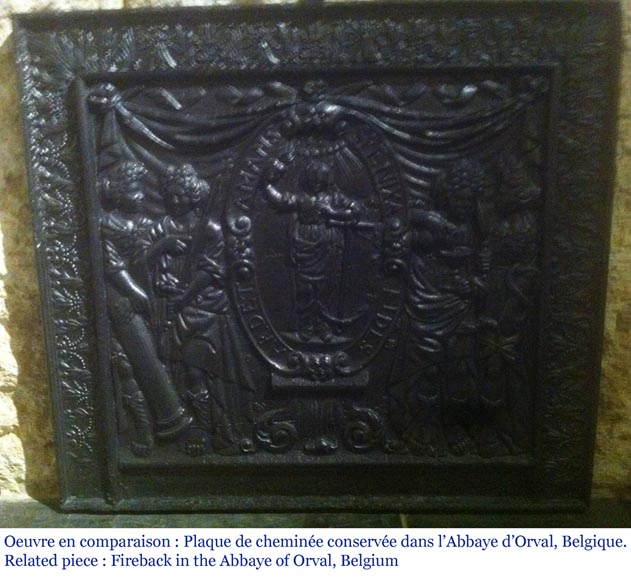 Big antique fireback with jansenist decoration-11