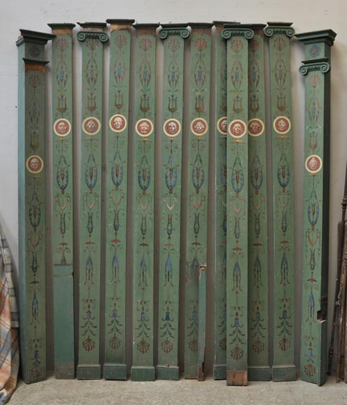 Serie of antique pilasters and arcades in painted wood - Reference 9914