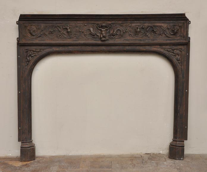 Fireplace cast iron insert, style Napoleon III, with grotesques and chimeras decoration-0
