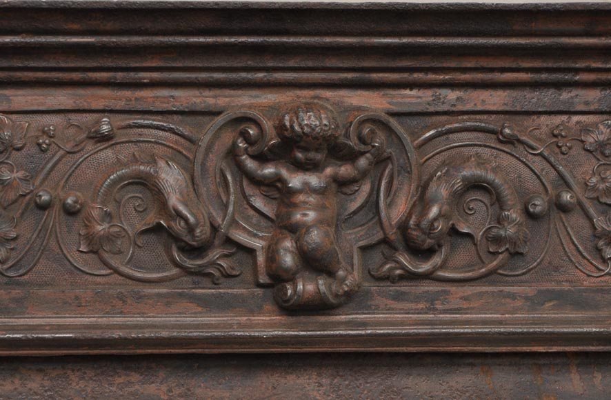 Fireplace cast iron insert, style Napoleon III, with grotesques and chimeras decoration-1