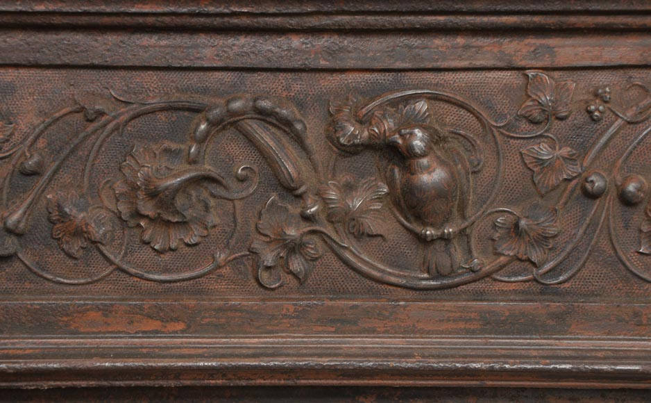 Fireplace cast iron insert, style Napoleon III, with grotesques and chimeras decoration-4